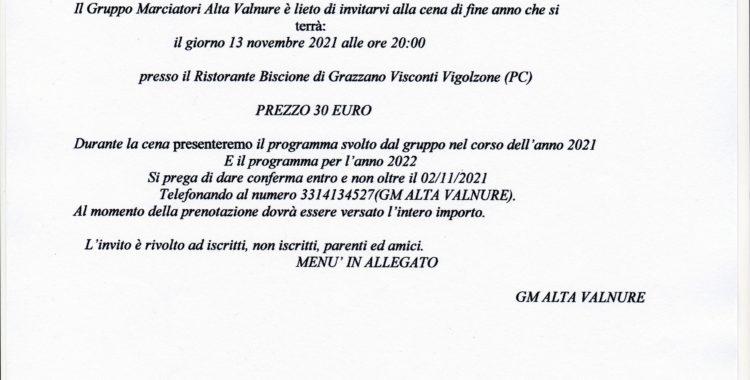 CENA ANNUALE G.M. ALTA VALNURE 2021
